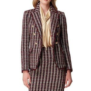 Tahari Metallic Boucle Double Breasted Blazer